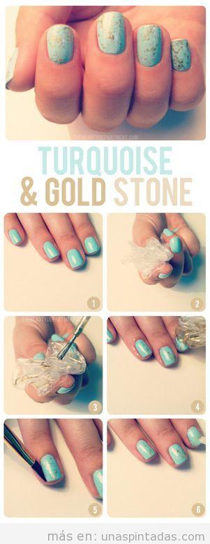 Tutorial para decorar tus uñas con el efecto de la piedra turquesa