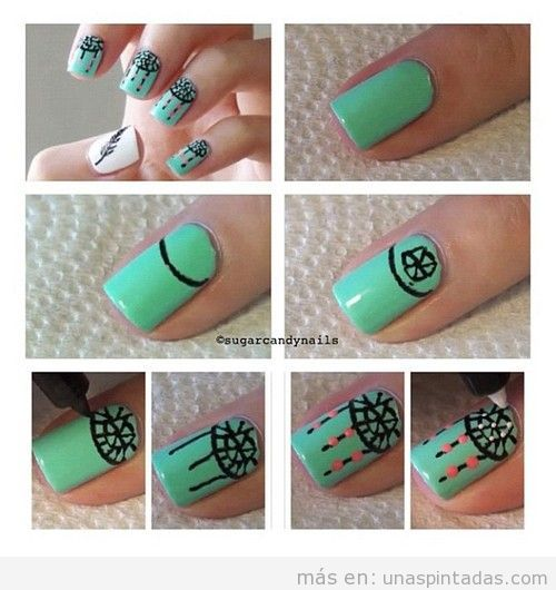 Tutorial paso a paso con fotos de un diseño de uñas con dibujo de atrapasueños