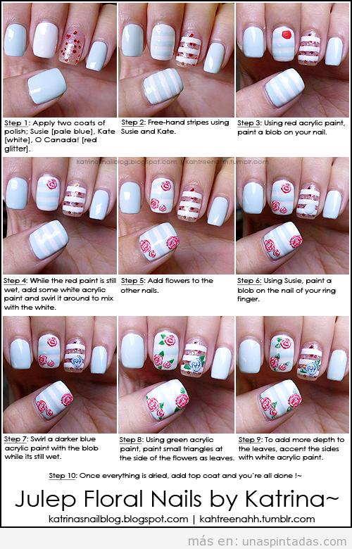 Como hacer paso a paso una decoración de uñas vintage con dibujos de rosas paso a paso