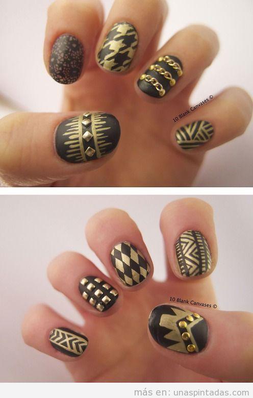 Diseño de uñas en negro y dorado mate