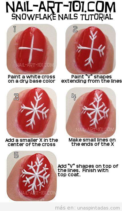 Tutorial con fotos paso a paso para aprender a dibujar un copo de nieve en decoración de uñas
