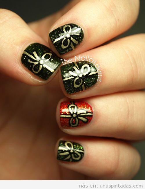 Decoración de uñas con dibujos de regalos y lazos