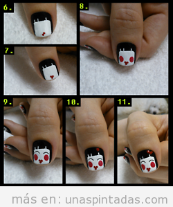 Tutorial paso a paso para dibujar fácil una muñeca japonesa en las uñas