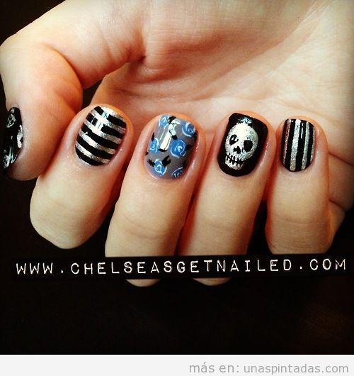 Diseño de uñas rockero con cadaveras chic