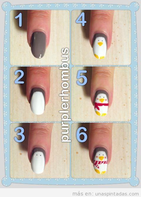 Pinta pingüinos en tus uñas - Uñas pintadas