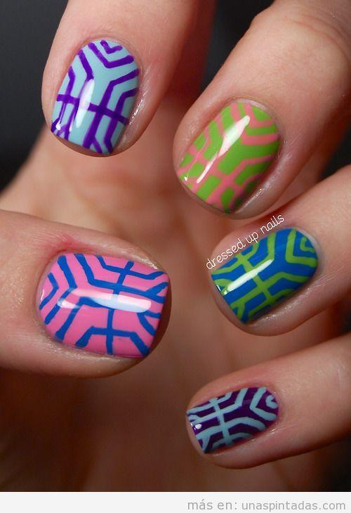 Decoración de uñas motivos geométricos inspiradas en Art Déco