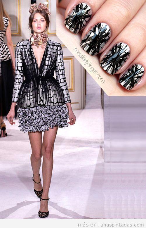 Diseño de uñas inspirado en vestido de Giambabttista valli