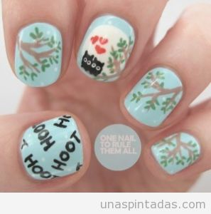Diseño uñas buhos enamorados