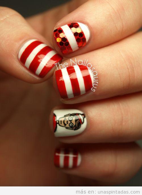 Decoración de uñas con dibujos de Donde está Wally