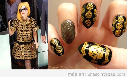 Diseño de uñas en negro y dorado inspirado en vestido Lady gaga