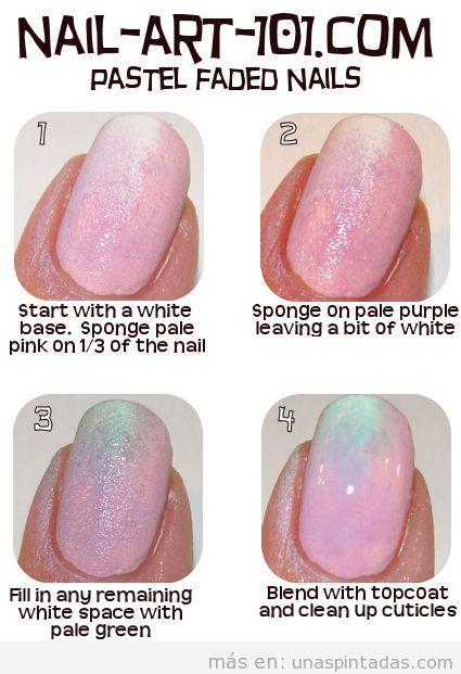 Tutorial paso a paso para decorar las uñas con degradado tonos pastel