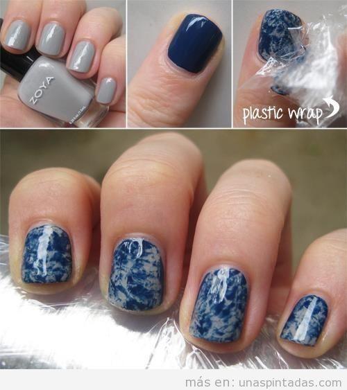 Tutorial paso a paso de una decoración de uñas con estampado tejano