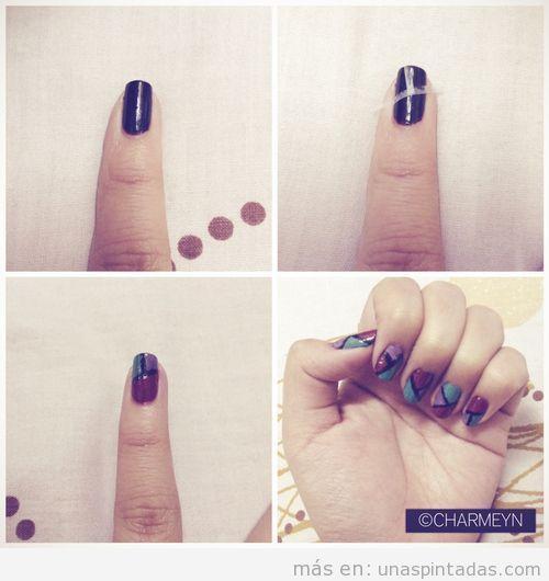 Tutorial con fotos paso a paso para decorar las uñas con el truco de la cinta adhesiva