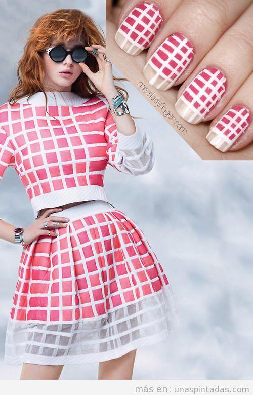 Diseño de uñas inspirado en vestido colección primavera 2013 de Channel
