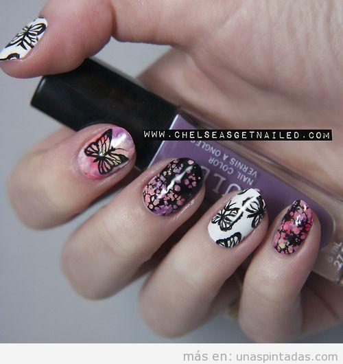 Decoración de uñas con mariposas y flores