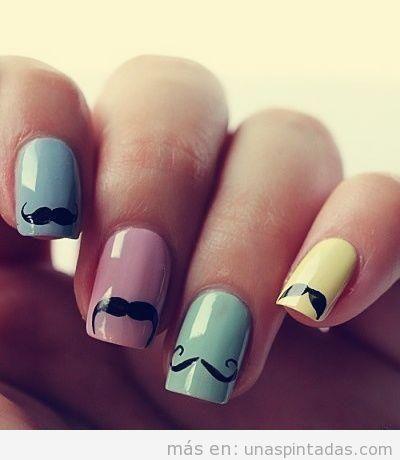 Decoración de uñas con dibujos de bigote