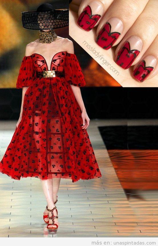 Diseño uñas de mariquitas inspirado en vestido de McQueen