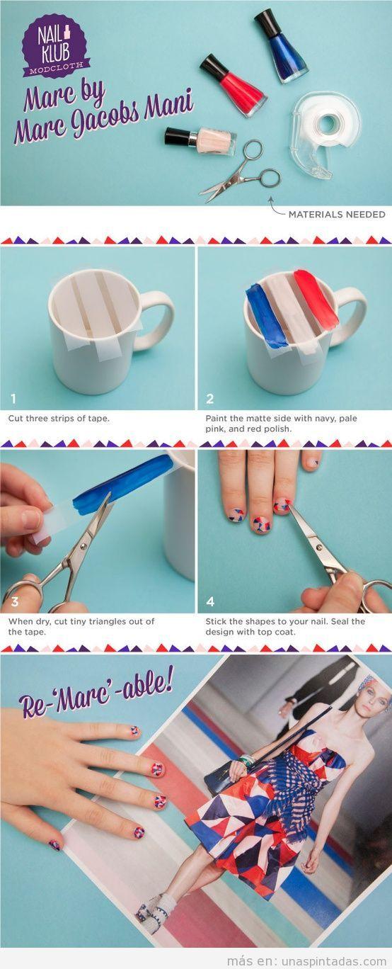 Tutorial decoración de uñas paso a paso, diseño Marc Jacobs