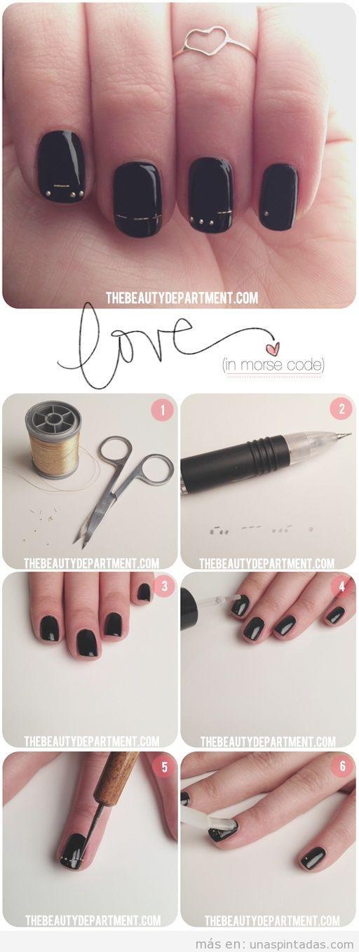 Tutorial con fotos paso a paso para diseñar uñas con hilos dorados