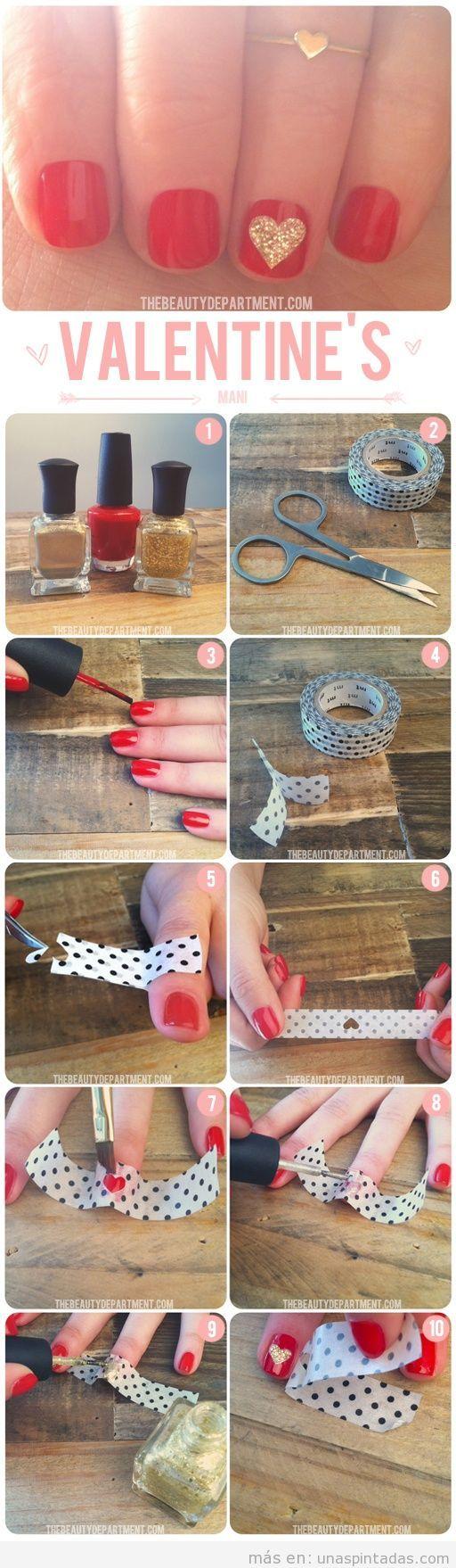 Tutorial paso a paso para decoración de uñas corazón San Valentín