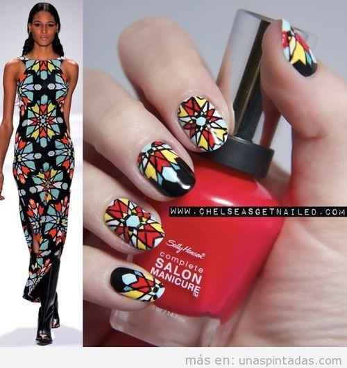 Decoración de uñas inspirada en un diseño de Mara Hoffman