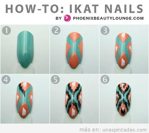 Tutorial paso a paso, decoración de uñas con estampado Ikat