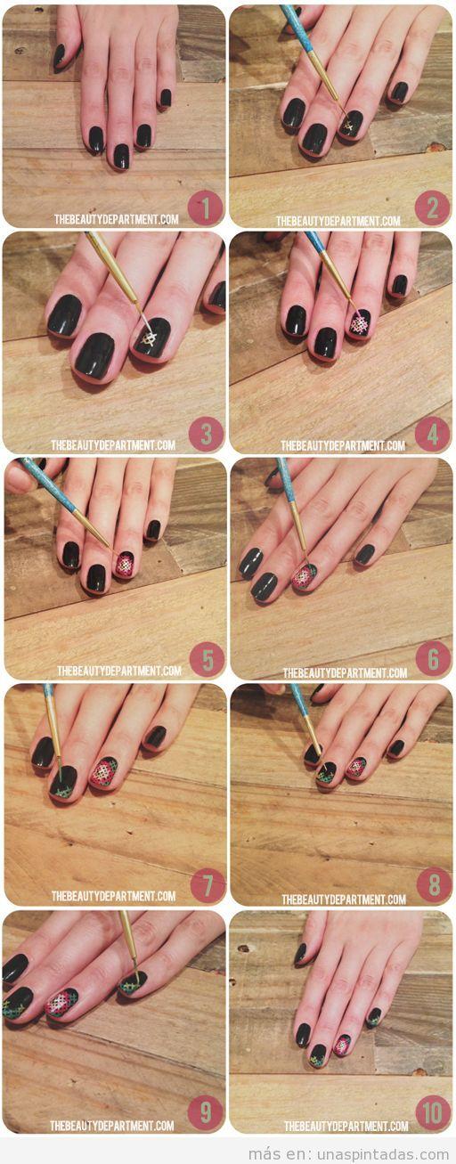 Tutorial paso a paso. cómo hacer diseño uñas estilo punto de cruz