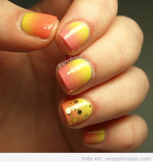 Decoración de uñas en degradado, atarceder de verano