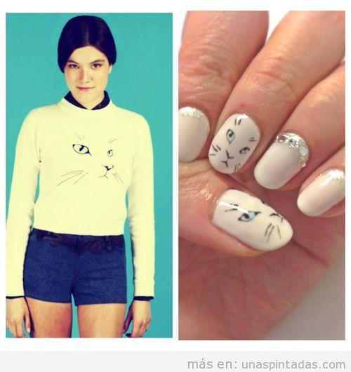 Decoración de uñas con dibujo de cara de gato