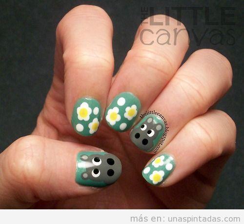 Diseño de uñas, hipopótamo y margarita