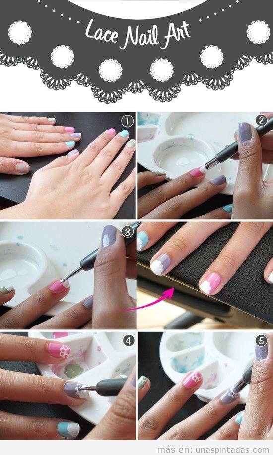 Tutorial, dibujar un encaje o puntilla en las uñas, fácil
