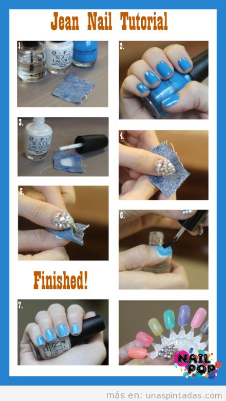 Tutorial paso a paso, decoracion de uñas con estampado tejano