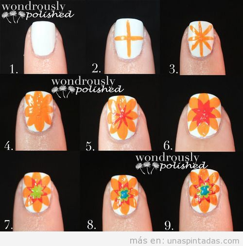 Tutorial paso a paso para dibujar una flor en las uñas, estilo hippie, paso a paso