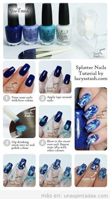Diseño de uñas, efecto salpicadura, explicación paso a paso