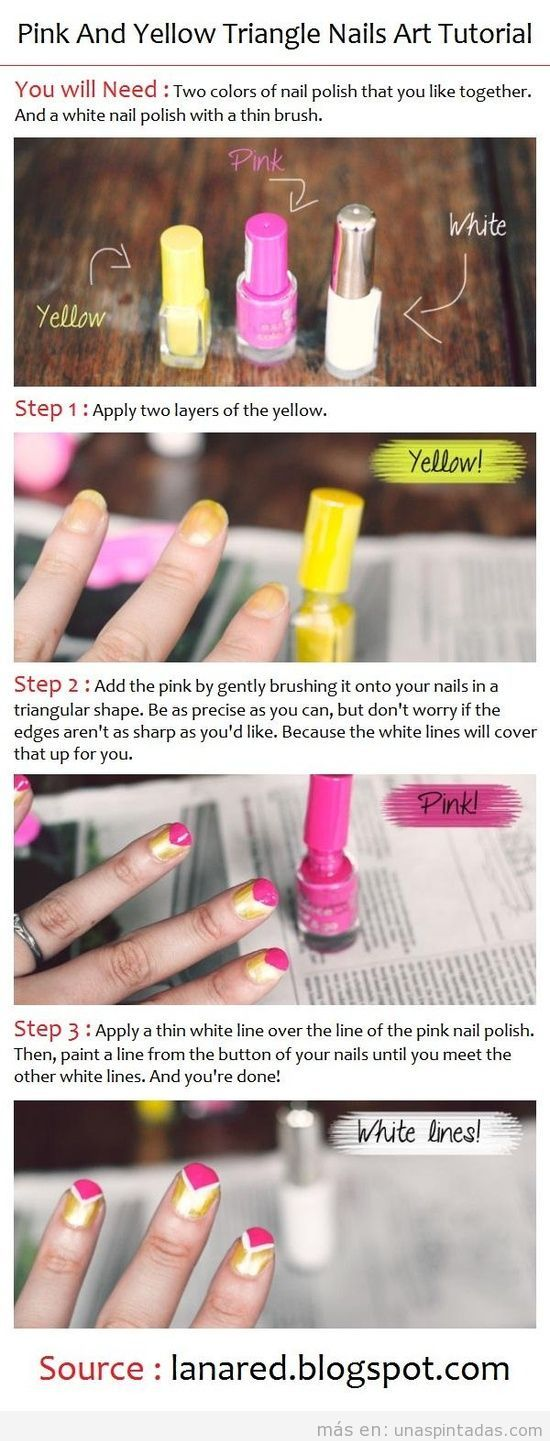Tutorial paso a paso, diseño de uñas con triángulos amarillos y rosas