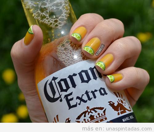 Dibujo de limón en tus uñas