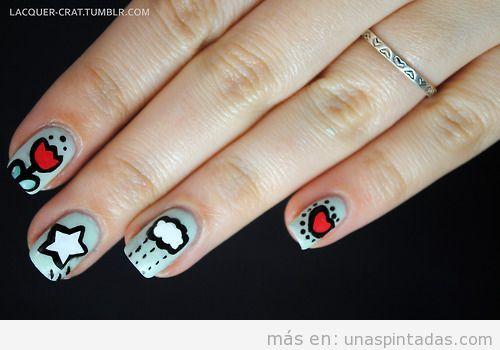 Decoración de uñas con dibujos sencillos, estilo Keith HAring