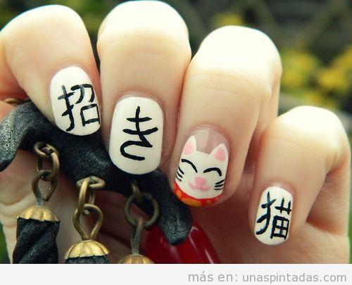 Diseño de uñas del gato japonés Maneki Neko