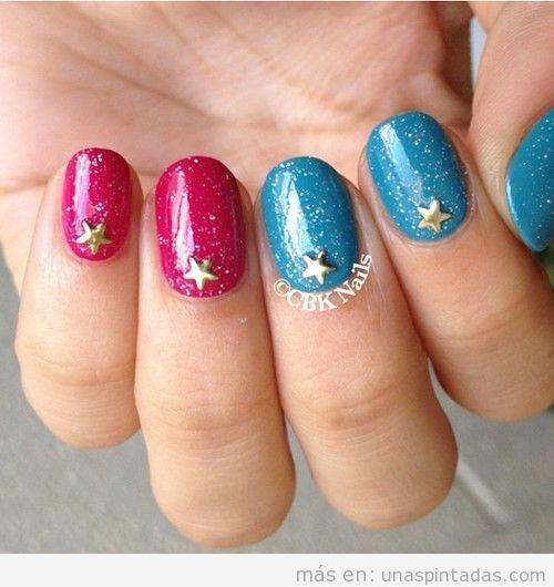 Decoración de uñas de sirena, purpurina y estrellas, verano 2013