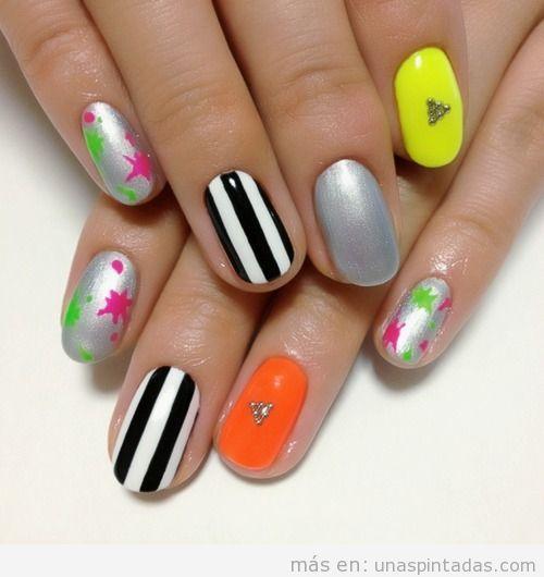 Decoración de uñas con rayas, flores, neón y metálico