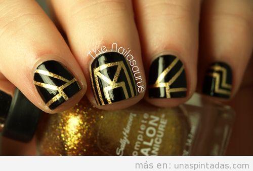 Diseño de uñas inspirado en El Gran Gatsby