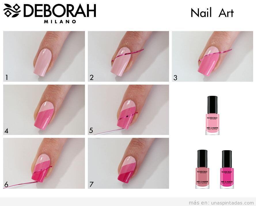 Decoración de uñas con rayas y bandas diagonales, paso a paso