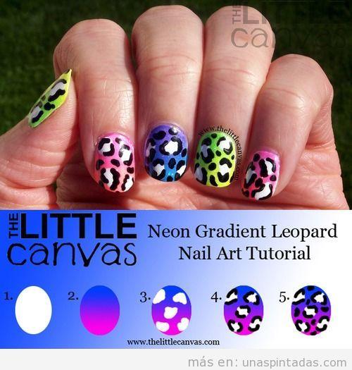 Tutorial paso a paso, cómo hacer una decoración de uñas, estampado leopardo en colores neón