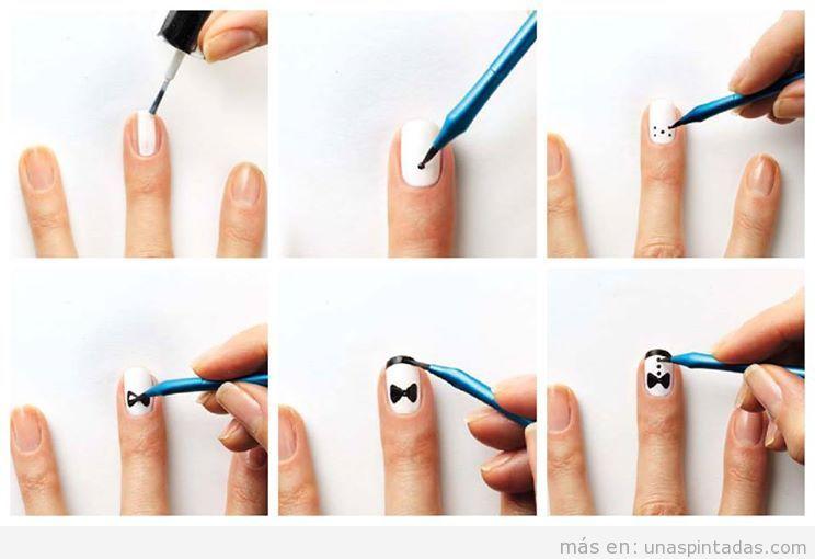 Tutorial para dibujar un esmoquin en la decoración de uñas