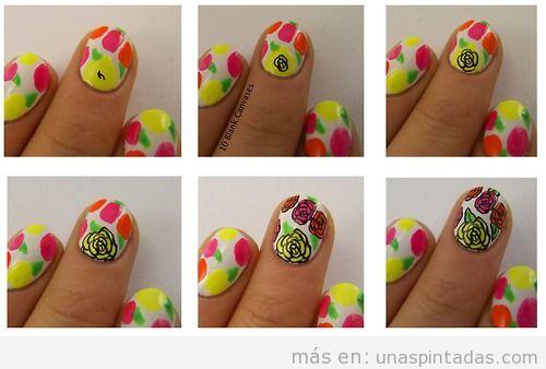 Decoración de uñas con rosas de neón, paso a paso