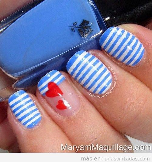 Decoración de uñas estilo náutico a rayas, verano 2013