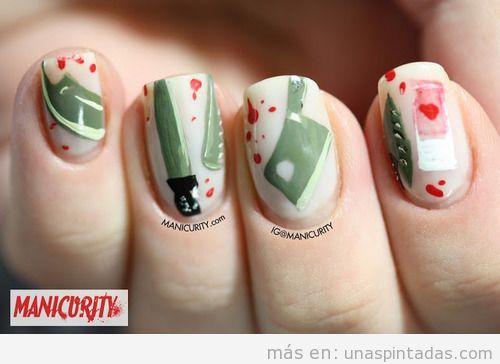 Decoración de uñas inspirada en la serie Dexter
