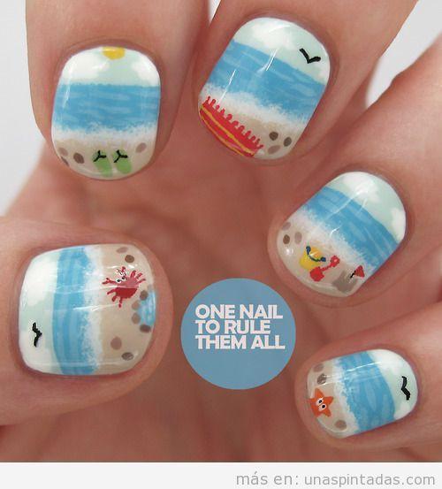 Diseño de uñas graciosos con playa, cangrejosm estrellas, verano 2013