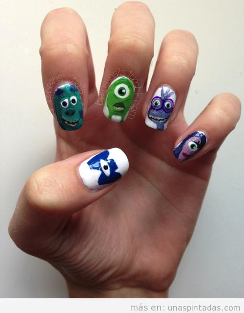 Nail Art con dibujos de los personajes de Monstruos University