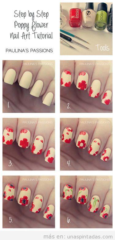 Tutorial para dibujar una amapola en las uñas paso a paso